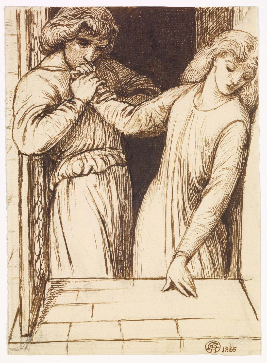 Hamlet and Ophelia Compositional Study by Dante Gabriel Rosetti